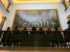 embers admiring a painting of the 1794 Trinity House Elder Brethren, by Gainsborough Dupont